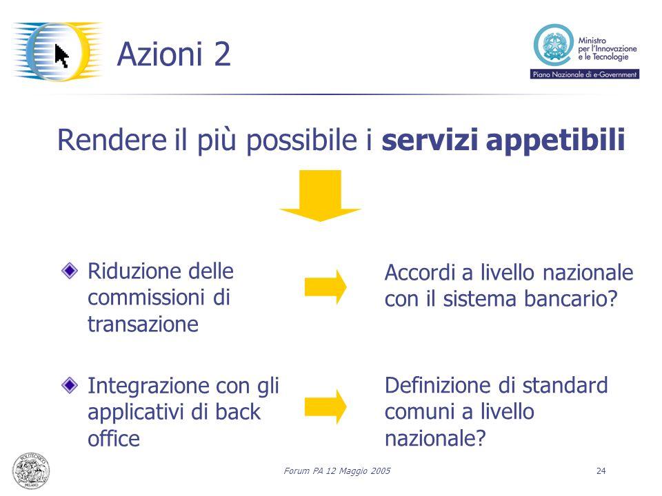 Forum PA 12 Maggio 200524 Azioni 2 Rendere il più possibile i servizi appetibili Riduzione delle commissioni di transazione Integrazione con gli applicativi di back office Accordi a livello nazionale con il sistema bancario.