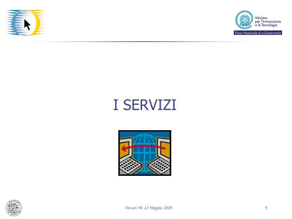 Forum PA 12 Maggio 20055 I SERVIZI