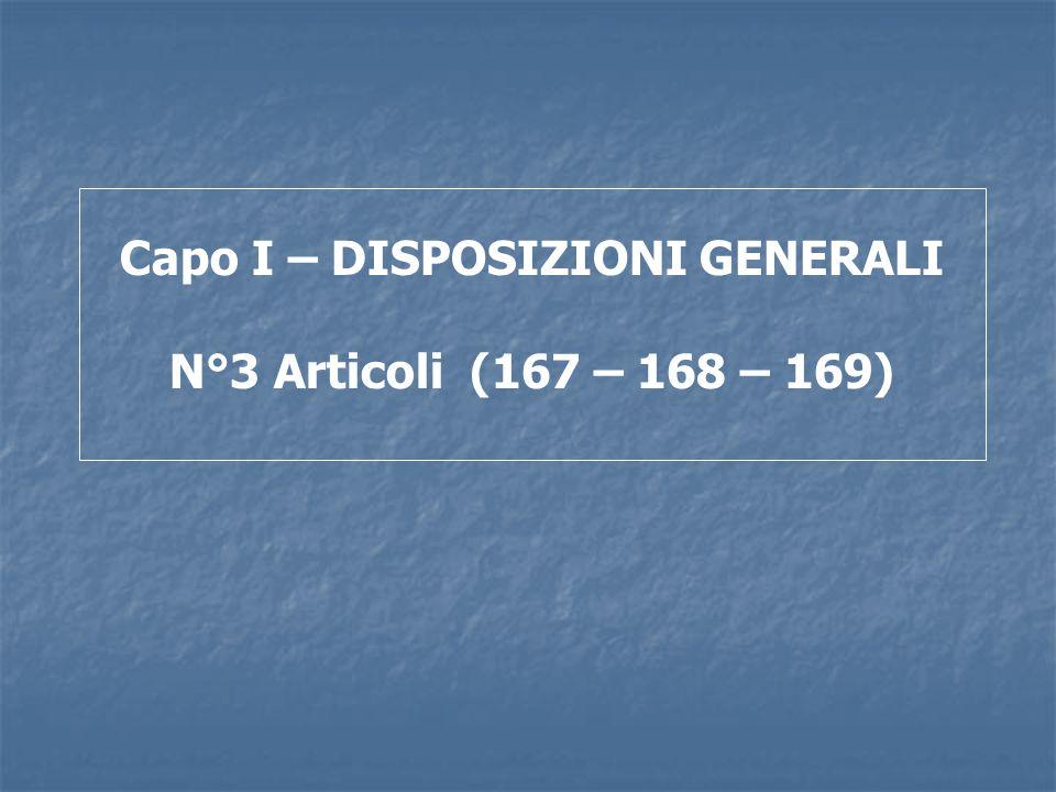 Capo I – DISPOSIZIONI GENERALI N°3 Articoli (167 – 168 – 169)