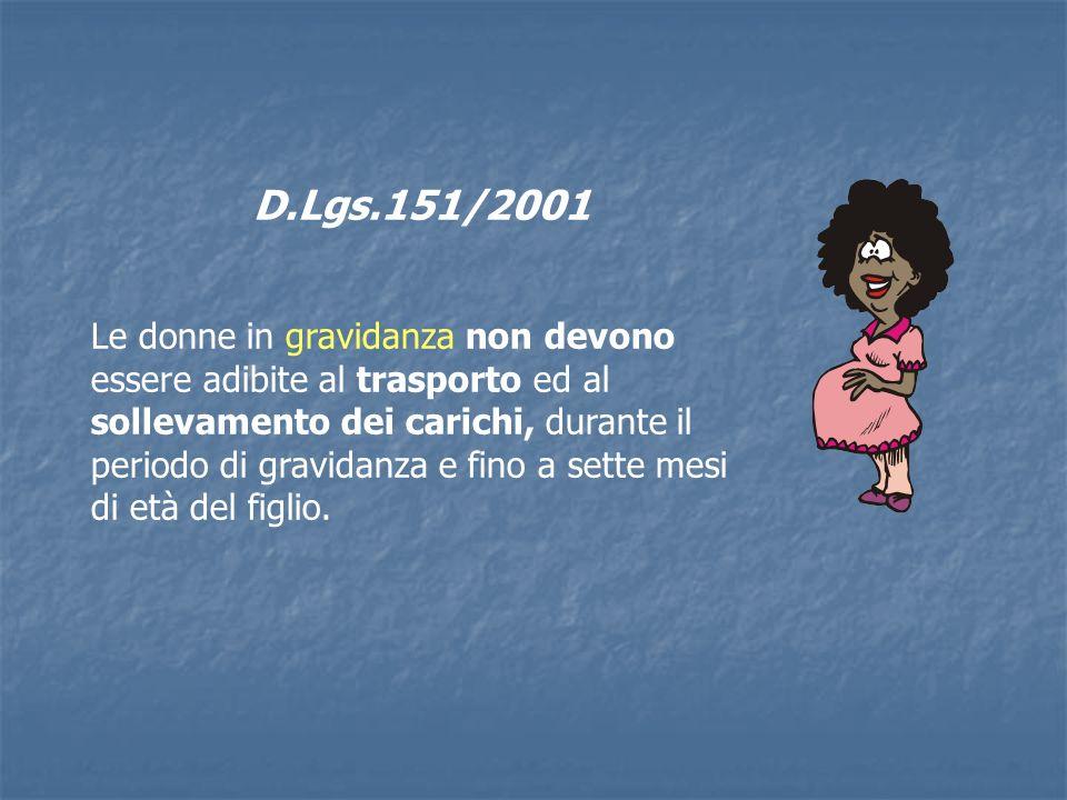 D.Lgs.151/2001 Le donne in gravidanza non devono essere adibite al trasporto ed al sollevamento dei carichi, durante il periodo di gravidanza e fino a