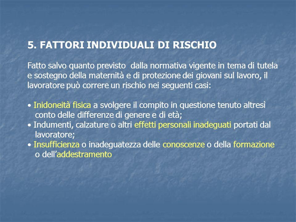 5. FATTORI INDIVIDUALI DI RISCHIO Fatto salvo quanto previsto dalla normativa vigente in tema di tutela e sostegno della maternità e di protezione dei