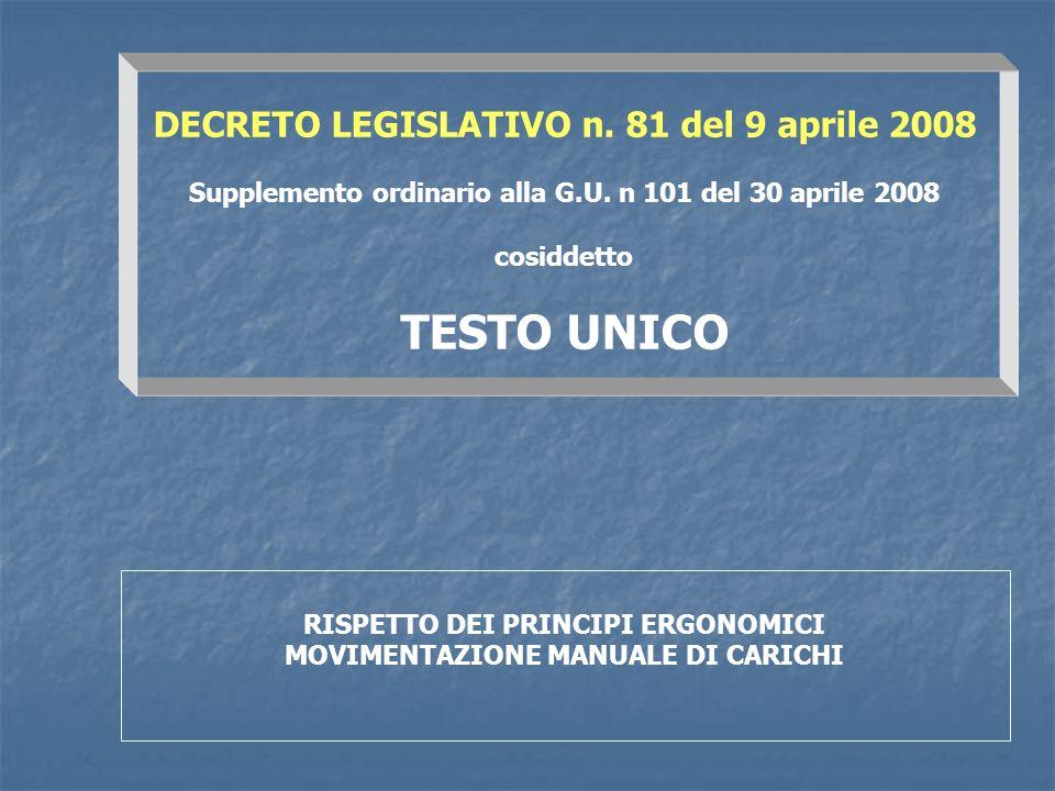 DECRETO LEGISLATIVO n. 81 del 9 aprile 2008 Supplemento ordinario alla G.U. n 101 del 30 aprile 2008 cosiddetto TESTO UNICO RISPETTO DEI PRINCIPI ERGO