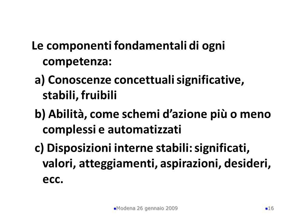 Le componenti fondamentali di ogni competenza: a) Conoscenze concettuali significative, stabili, fruibili b) Abilità, come schemi dazione più o meno c