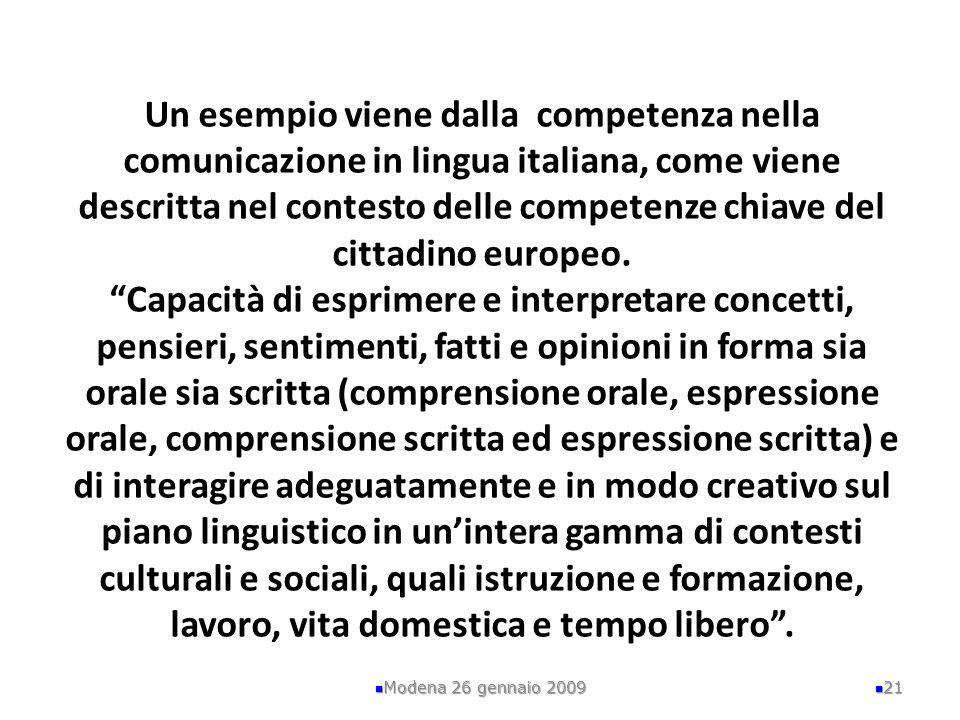 Un esempio viene dalla competenza nella comunicazione in lingua italiana, come viene descritta nel contesto delle competenze chiave del cittadino euro