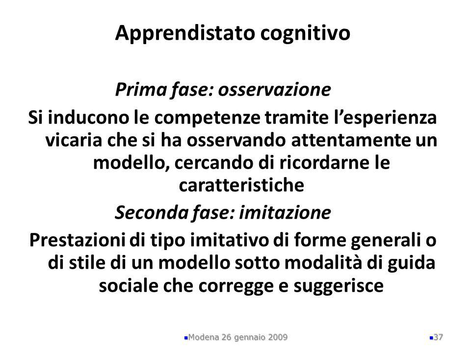 Modena 26 gennaio 2009 37 Apprendistato cognitivo Prima fase: osservazione Si inducono le competenze tramite lesperienza vicaria che si ha osservando