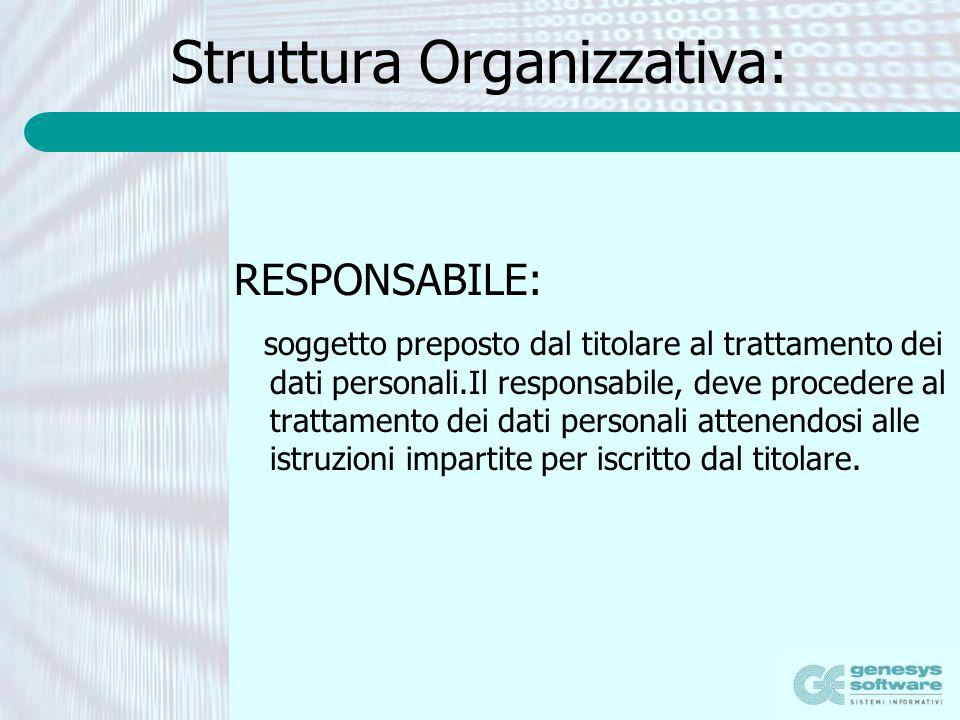 Struttura Organizzativa: RESPONSABILE: soggetto preposto dal titolare al trattamento dei dati personali.Il responsabile, deve procedere al trattamento
