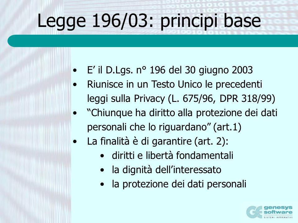 Legge 196/03: principi base E il D.Lgs. n° 196 del 30 giugno 2003 Riunisce in un Testo Unico le precedenti leggi sulla Privacy (L. 675/96, DPR 318/99)