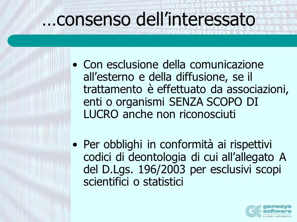 …consenso dellinteressato Con esclusione della comunicazione allesterno e della diffusione, se il trattamento è effettuato da associazioni, enti o org