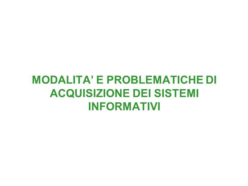 MODALITA E PROBLEMATICHE DI ACQUISIZIONE DEI SISTEMI INFORMATIVI