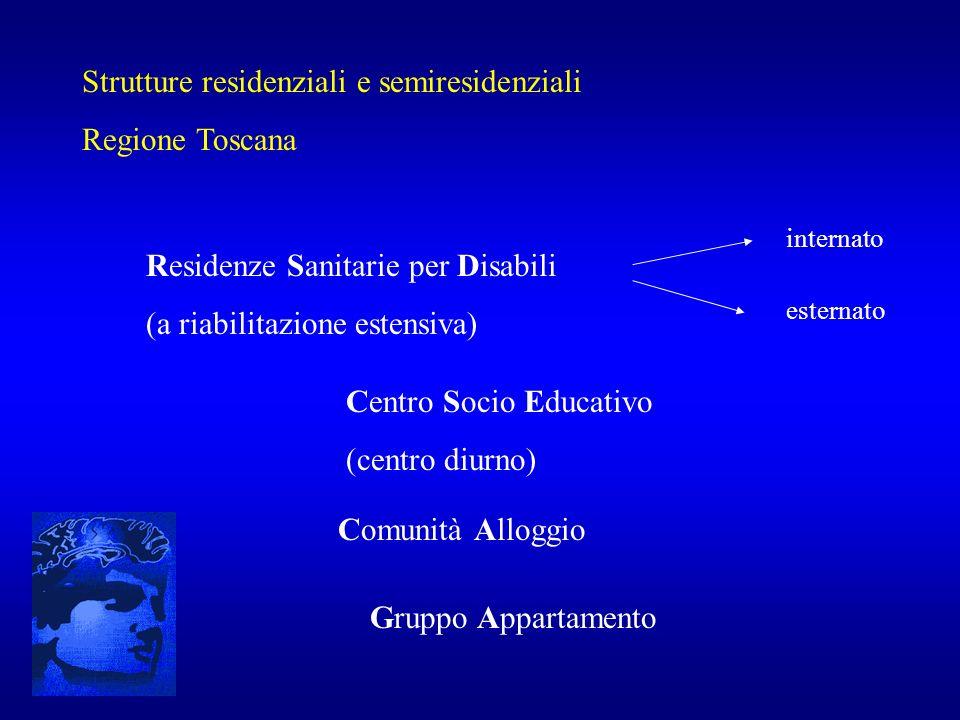 Strutture residenziali e semiresidenziali Regione Toscana Residenze Sanitarie per Disabili (a riabilitazione estensiva) internato esternato Centro Soc