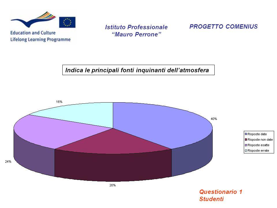 PROGETTO COMENIUS Indica le principali fonti inquinanti dellatmosfera Istituto Professionale Mauro Perrone Questionario 1 Studenti