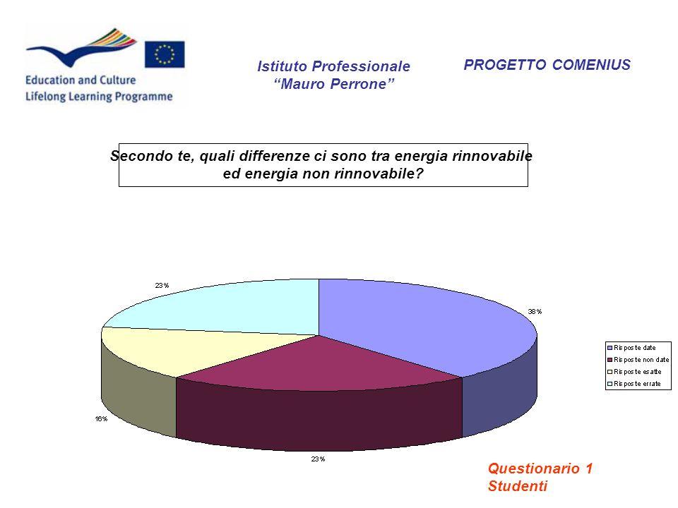 PROGETTO COMENIUS Secondo te, quali differenze ci sono tra energia rinnovabile ed energia non rinnovabile? Istituto Professionale Mauro Perrone Questi