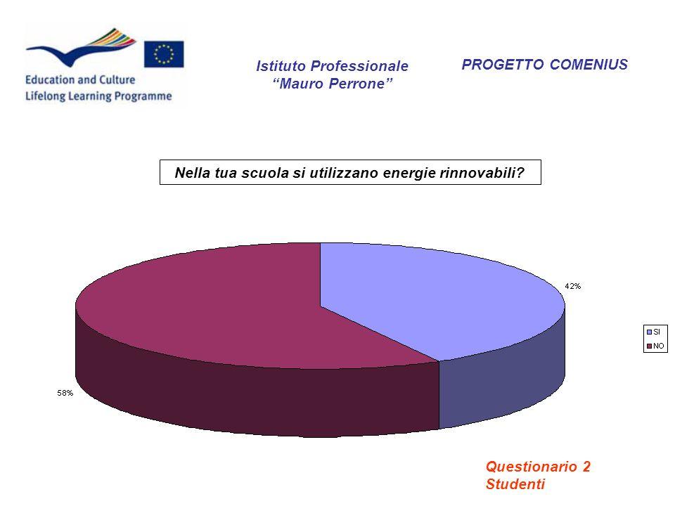 PROGETTO COMENIUS Nella tua scuola si utilizzano energie rinnovabili? Istituto Professionale Mauro Perrone Questionario 2 Studenti