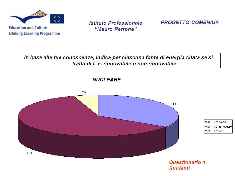 PROGETTO COMENIUS Cosa si intende per risparmio energetico.