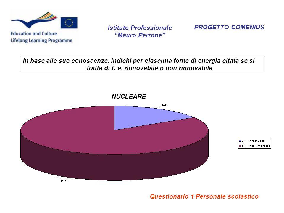 PROGETTO COMENIUS NUCLEARE In base alle sue conoscenze, indichi per ciascuna fonte di energia citata se si tratta di f. e. rinnovabile o non rinnovabi