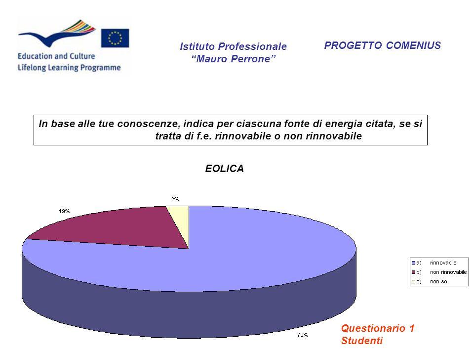 EOLICA PROGETTO COMENIUS In base alle tue conoscenze, indica per ciascuna fonte di energia citata, se si tratta di f.e. rinnovabile o non rinnovabile