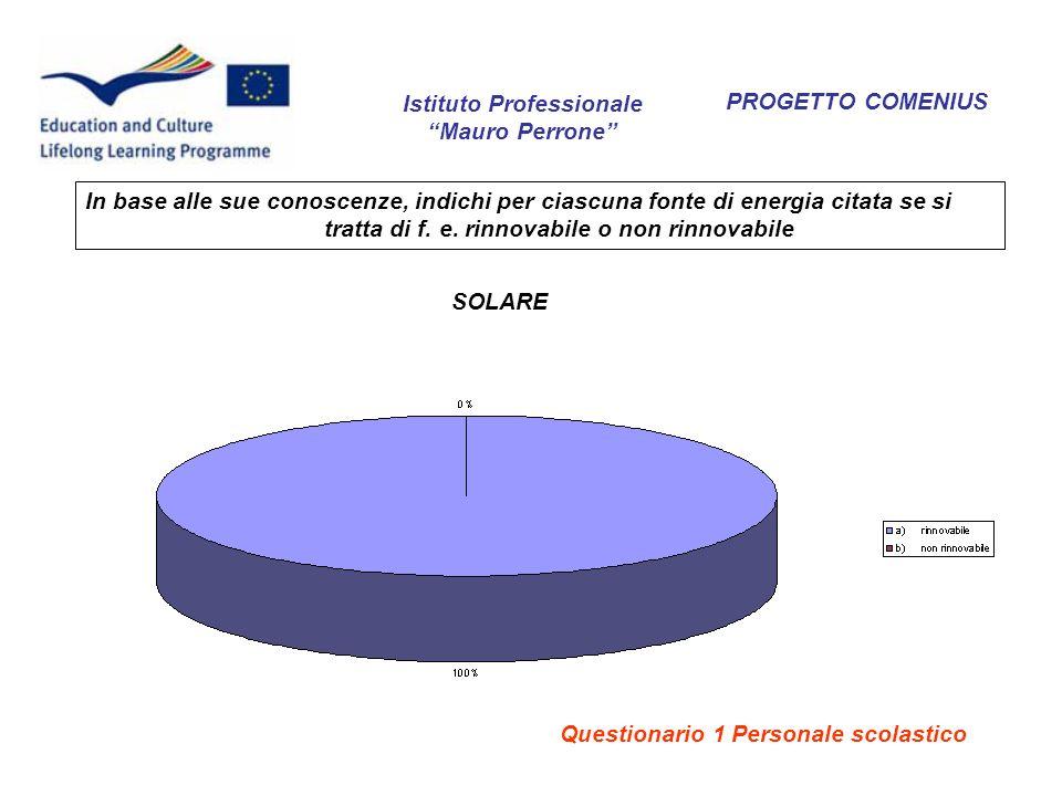 PROGETTO COMENIUS In base alle sue conoscenze, indichi per ciascuna fonte di energia citata se si tratta di f. e. rinnovabile o non rinnovabile SOLARE