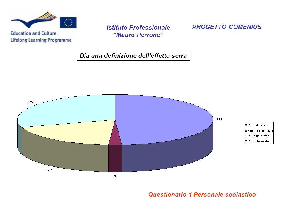 PROGETTO COMENIUS Dia una definizione delleffetto serra Istituto Professionale Mauro Perrone Questionario 1 Personale scolastico