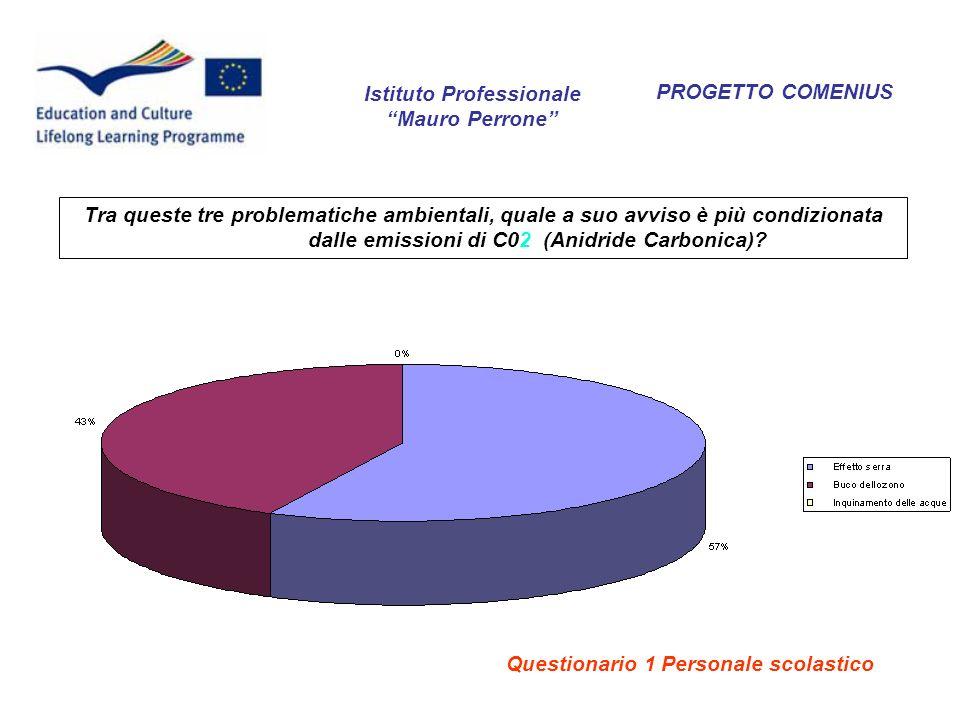 PROGETTO COMENIUS Istituto Professionale Mauro Perrone Tra queste tre problematiche ambientali, quale a suo avviso è più condizionata dalle emissioni di C02 (Anidride Carbonica).