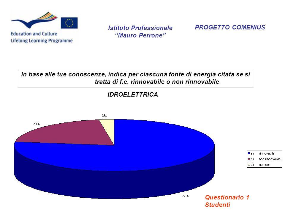 PROGETTO COMENIUS Quali sono, secondo te, le azioni da intraprendere per far fronte allesaurimento delle risorse energetiche non rinnovabili.