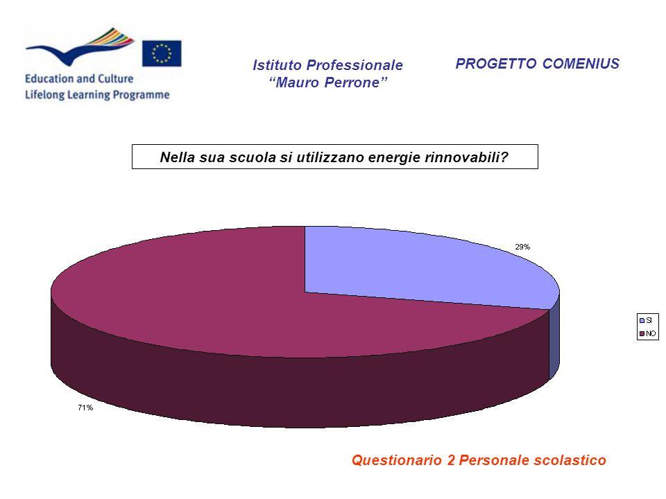 PROGETTO COMENIUS Nella sua scuola si utilizzano energie rinnovabili? Istituto Professionale Mauro Perrone Questionario 2 Personale scolastico