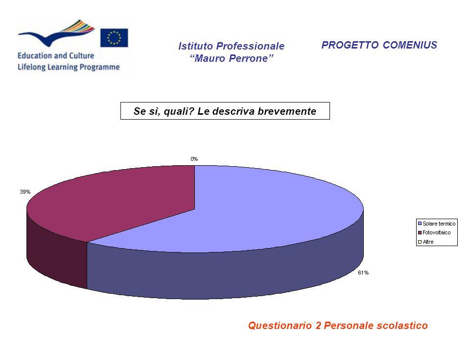 PROGETTO COMENIUS Se sì, quali? Le descriva brevemente Istituto Professionale Mauro Perrone Questionario 2 Personale scolastico