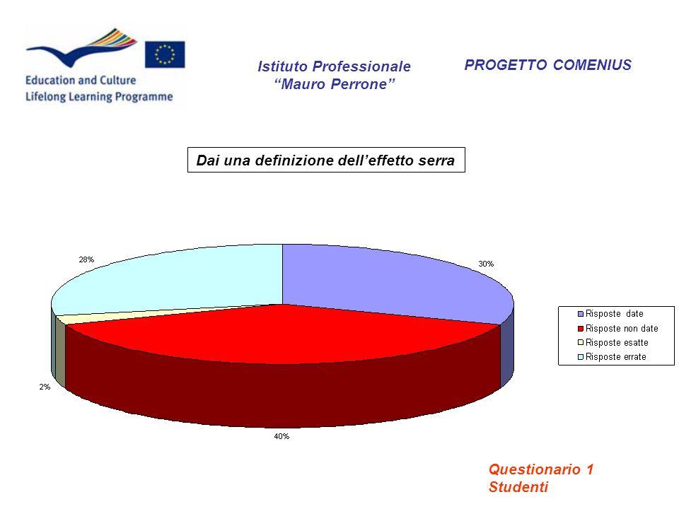 PROGETTO COMENIUS Dai una definizione delleffetto serra Istituto Professionale Mauro Perrone Questionario 1 Studenti