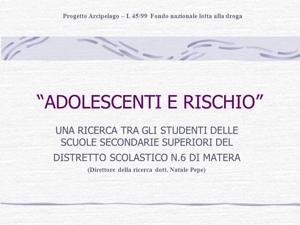 ADOLESCENTI E RISCHIO UNA RICERCA TRA GLI STUDENTI DELLE SCUOLE SECONDARIE SUPERIORI DEL DISTRETTO SCOLASTICO N.6 DI MATERA (Direttore della ricerca dott.