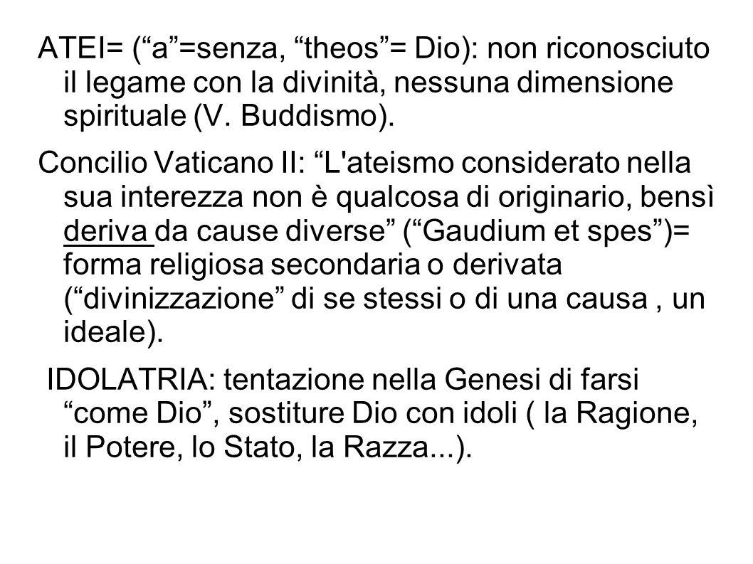 ATEI= (a=senza, theos= Dio): non riconosciuto il legame con la divinità, nessuna dimensione spirituale (V. Buddismo). Concilio Vaticano II: L'ateismo