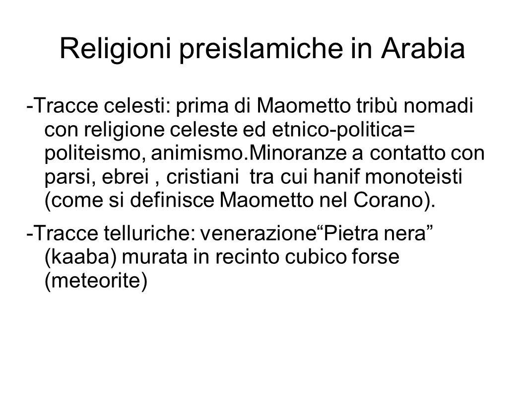 Religioni preislamiche in Arabia -Tracce celesti: prima di Maometto tribù nomadi con religione celeste ed etnico-politica= politeismo, animismo.Minora