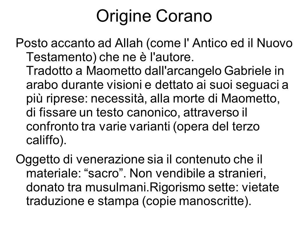 Origine Corano Posto accanto ad Allah (come l' Antico ed il Nuovo Testamento) che ne è l'autore. Tradotto a Maometto dall'arcangelo Gabriele in arabo