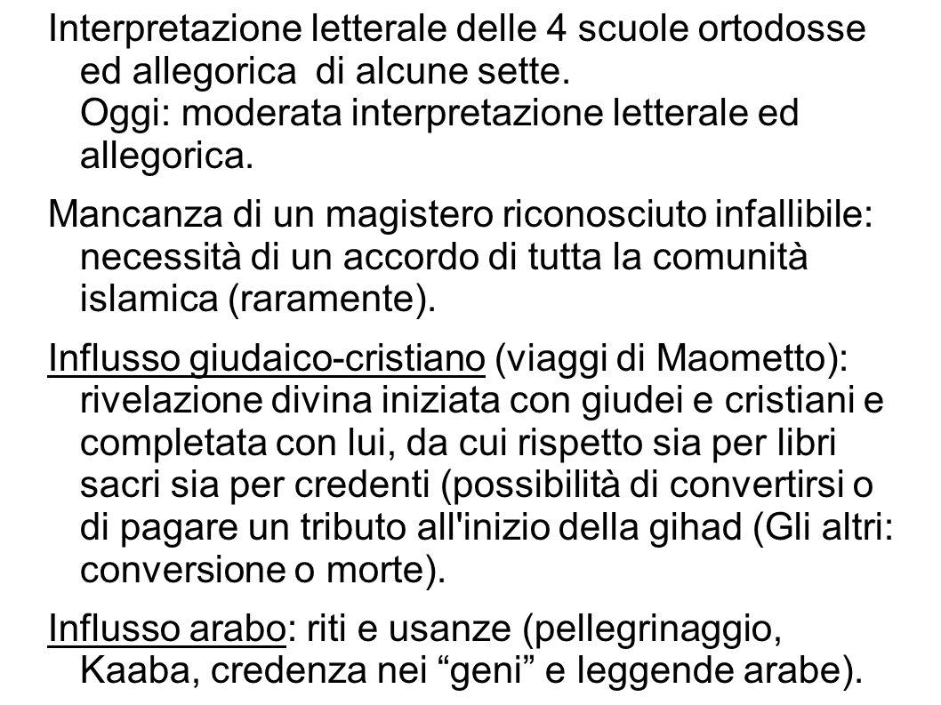 Interpretazione letterale delle 4 scuole ortodosse ed allegorica di alcune sette. Oggi: moderata interpretazione letterale ed allegorica. Mancanza di