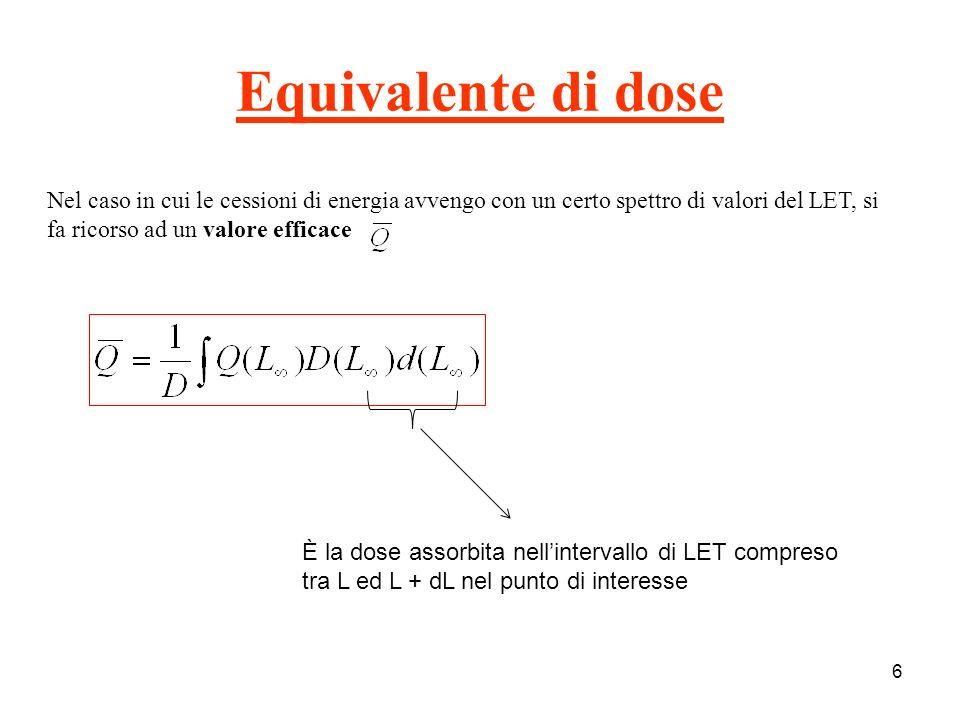 7 Quando non si conosce la distribuzione della dose assorbita in funzione del LET si utilizzano i valori approssimati, riporti in tabella.