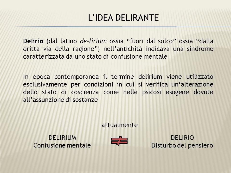 Delirio Delirio (dal latino de-lirium ossia fuori dal solco ossia dalla dritta via della ragione) nellantichità indicava una sindrome caratterizzata d