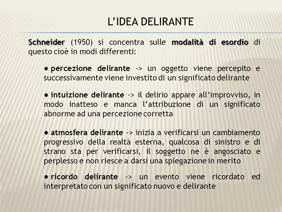 Schneider modalità di esordio Schneider (1950) si concentra sulle modalità di esordio di questo cioè in modi differenti: percezione delirante -> un og