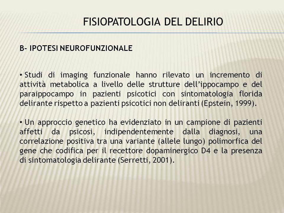 FISIOPATOLOGIA DEL DELIRIO B- IPOTESI NEUROFUNZIONALE Studi di imaging funzionale hanno rilevato un incremento di attività metabolica a livello delle