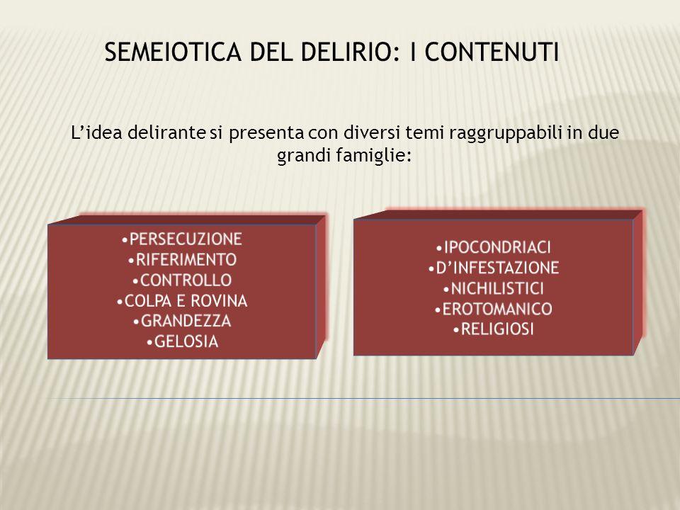 Lidea delirante si presenta con diversi temi raggruppabili in due grandi famiglie: SEMEIOTICA DEL DELIRIO: I CONTENUTI