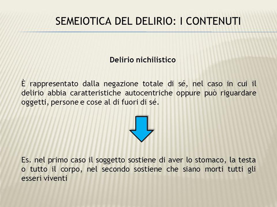 Delirio nichilistico È rappresentato dalla negazione totale di sé, nel caso in cui il delirio abbia caratteristiche autocentriche oppure può riguardar