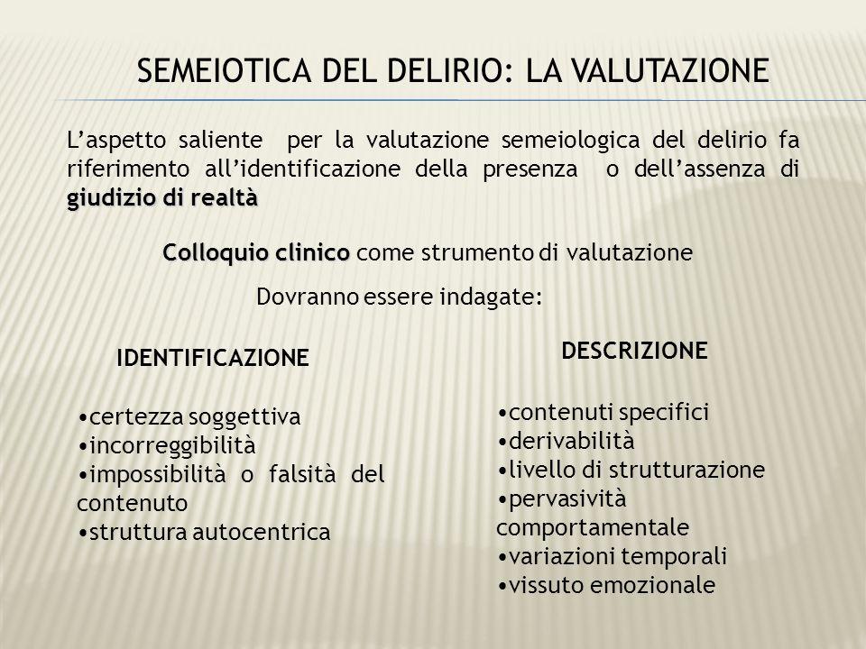 SEMEIOTICA DEL DELIRIO: LA VALUTAZIONE giudizio di realtà Laspetto saliente per la valutazione semeiologica del delirio fa riferimento allidentificazi