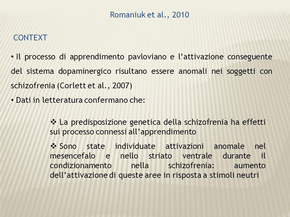 Romaniuk et al., 2010 CONTEXT Il processo di apprendimento pavloviano e lattivazione conseguente del sistema dopaminergico risultano essere anomali ne