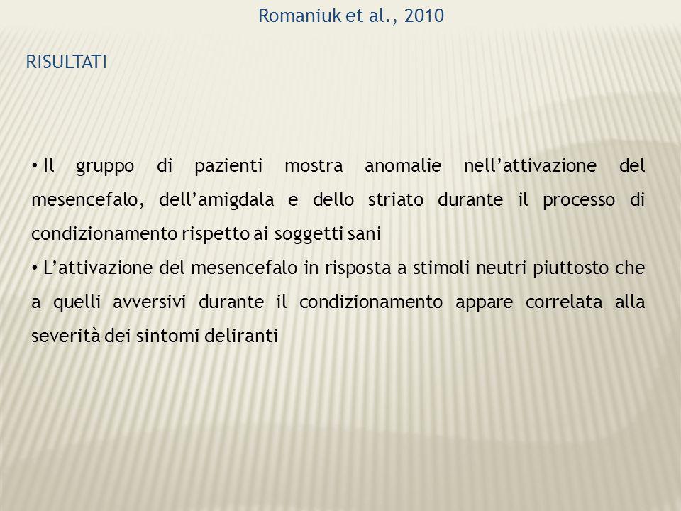 Romaniuk et al., 2010 RISULTATI Il gruppo di pazienti mostra anomalie nellattivazione del mesencefalo, dellamigdala e dello striato durante il process