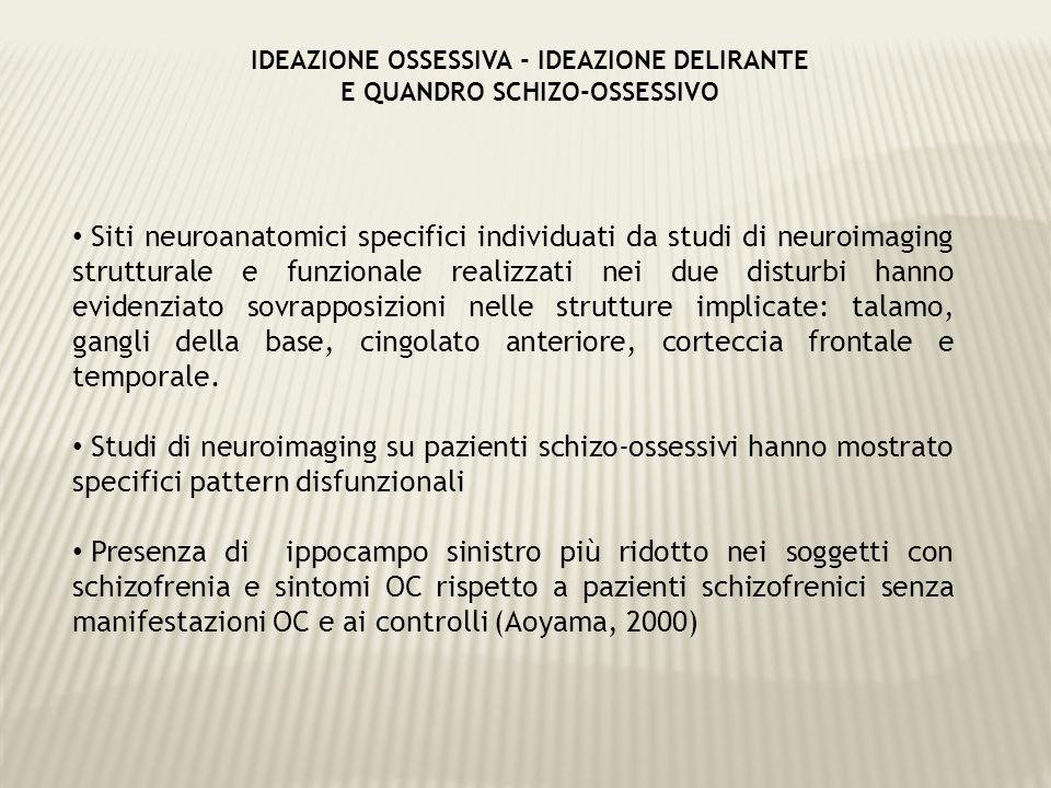 Confronto dei deficit cognitivi nei soggetti con schizofrenia, in soggetti con schizofrenia e sintomi OC in comorbilità e nei DOC.