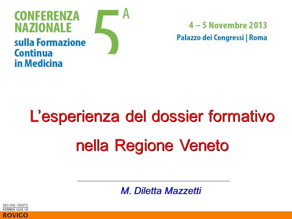 Lesperienza del dossier formativo nella Regione Veneto M. Diletta Mazzetti REGIONE VENETO ROVIGO AZIENDA ULSS 18