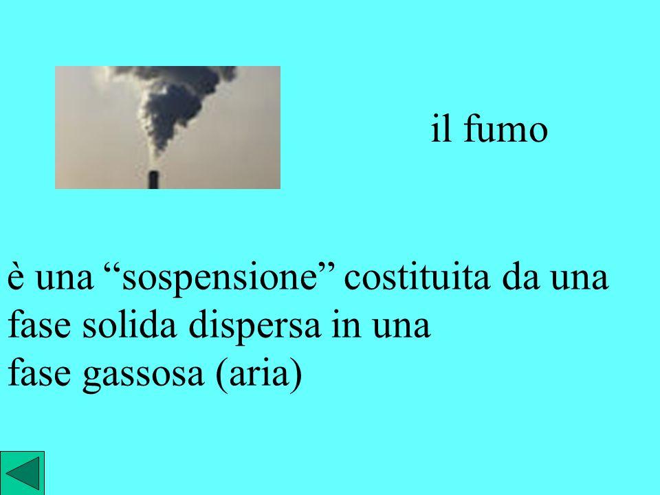 la nebbia è una dispersione costituita da una fase liquida (goccioline di acqua) dispersa in una fase gassosa (aria)