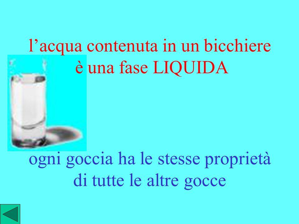 lacqua contenuta in un bicchiere è una fase LIQUIDA ogni goccia ha le stesse proprietà di tutte le altre gocce