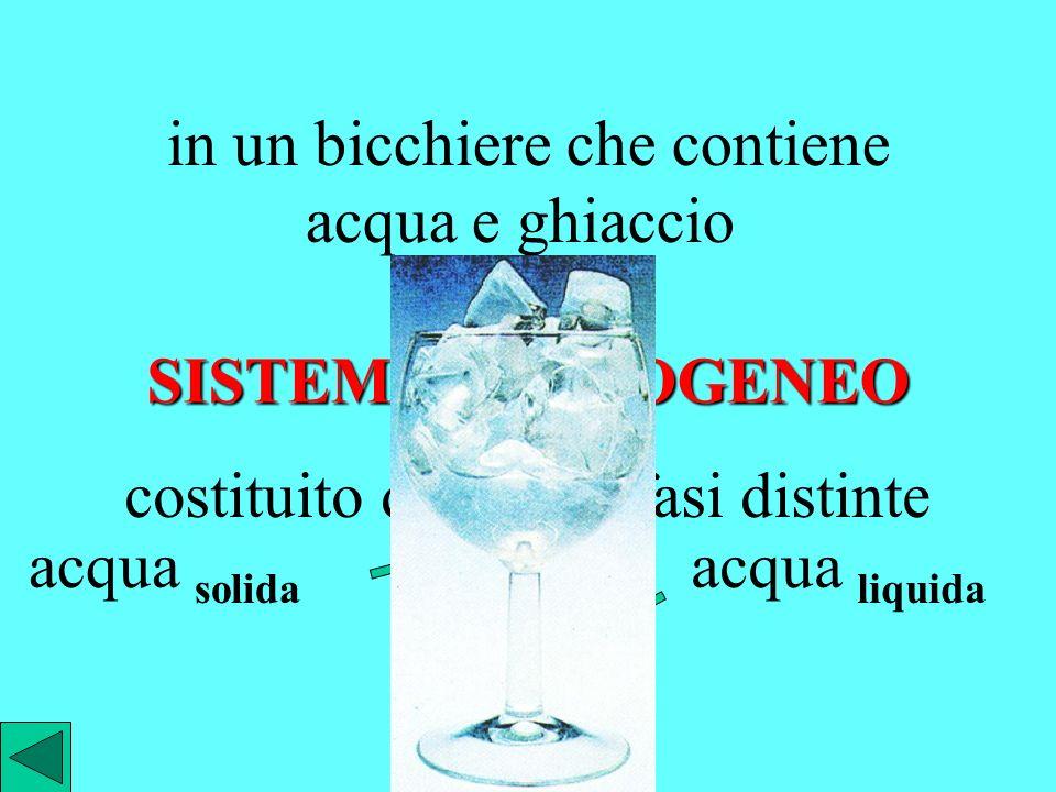 in un bicchiere che contiene acqua e ghiaccio si ha un SISTEMA ETEROGENEO costituito dalle due fasi distinte acqua solida acqua liquida