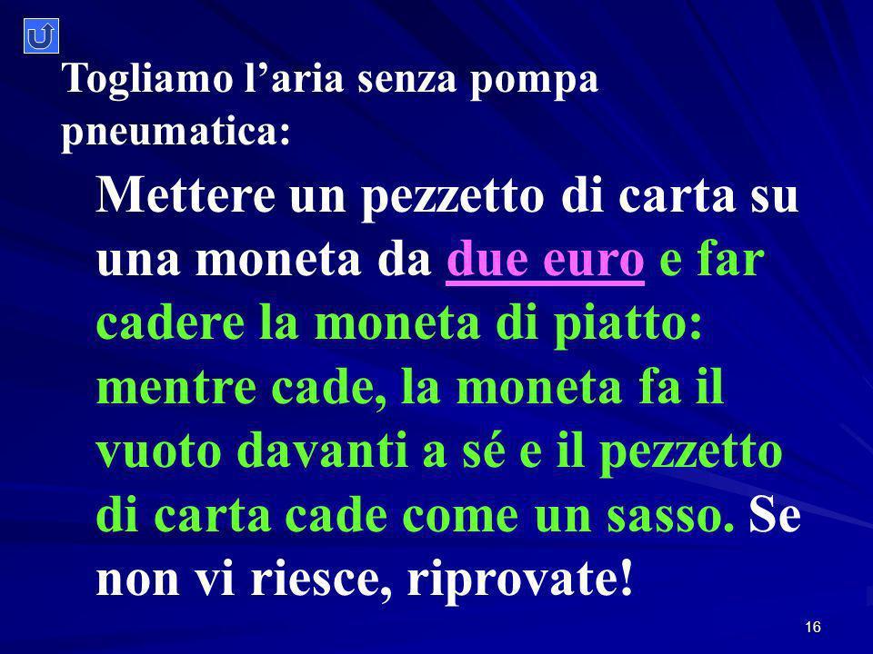 16 Mettere un pezzetto di carta su una moneta da due euro e far cadere la moneta di piatto: mentre cade, la moneta fa il vuoto davanti a sé e il pezzetto di carta cade come un sasso.