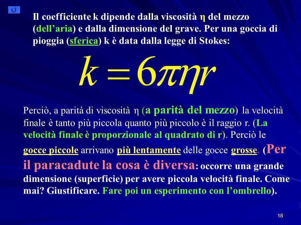 18 Il coefficiente k dipende dalla viscosità η del mezzo (dellaria) e dalla dimensione del grave.