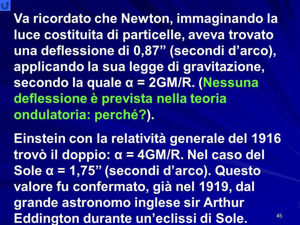 45 Va ricordato che Newton, immaginando la luce costituita di particelle, aveva trovato una deflessione di 0,87 (secondi darco), applicando la sua legge di gravitazione, secondo la quale α = 2GM/R.