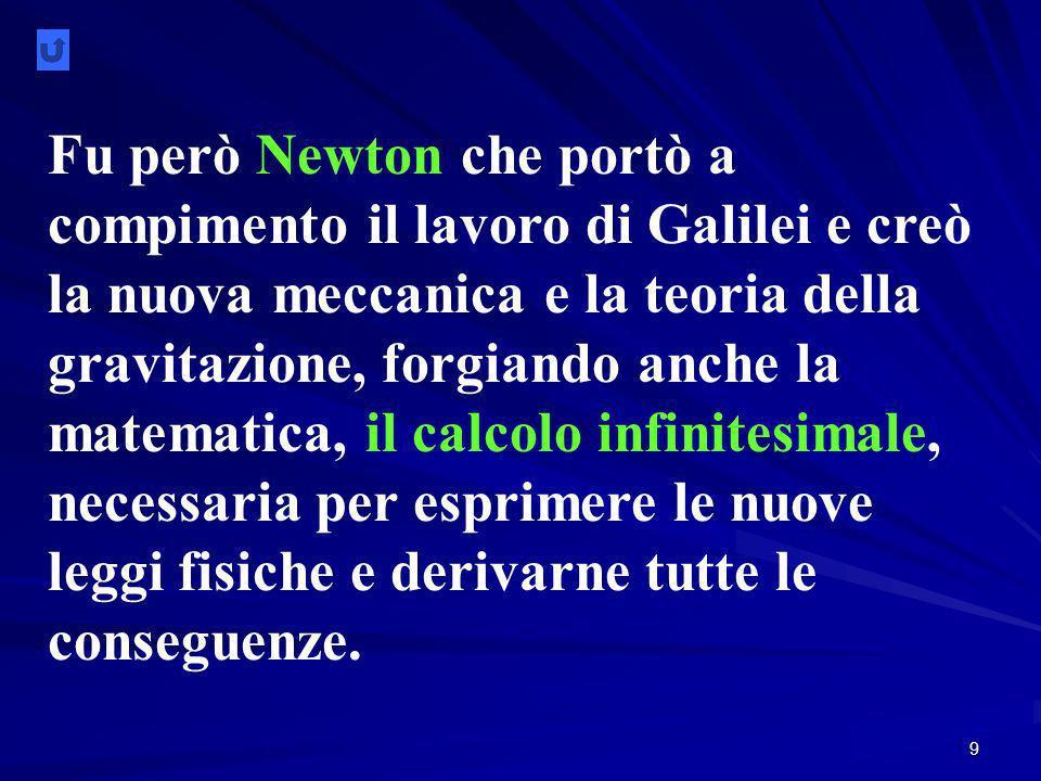 9 Fu però Newton che portò a compimento il lavoro di Galilei e creò la nuova meccanica e la teoria della gravitazione, forgiando anche la matematica, il calcolo infinitesimale, necessaria per esprimere le nuove leggi fisiche e derivarne tutte le conseguenze.